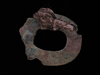 A flattened and oxidized circle of metal.