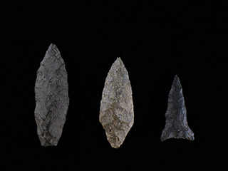 Five arrowheads of different shapes and materials.